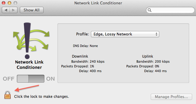 Using Network Link Conditioner