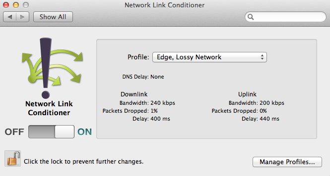 Using Network Link Conditioner - Profiles